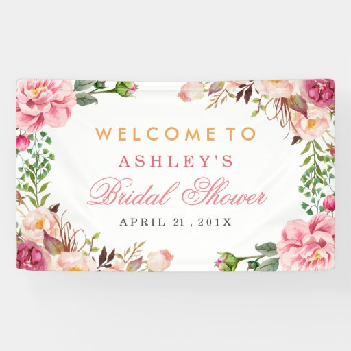 Wedding Gift Experiences Australia : Wedding Bridal Shower Romantic Chic Floral Wrapped Banner Zazzle