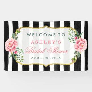 Wedding Bridal Shower Romantic Floral Stripes Banner