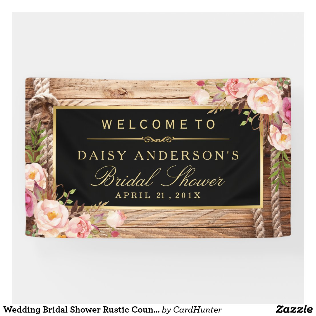Wedding Bridal Shower Rustic Country Wood Floral