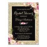 Wedding Bridal Shower Shiny Gold Sparkles Floral Card