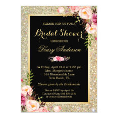 Wedding Bridal Shower Shiny Gold Sparkles Floral Card at Zazzle