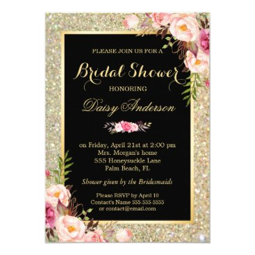 CardHunter Wedding Bridal Shower Shiny Gold Sparkles Floral Card