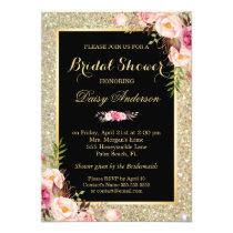 Wedding Bridal Shower Shiny Gold Sparkles Floral Invitation