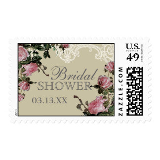 Wedding Bridal Shower Stamps, Trellis Rose Vintage Postage