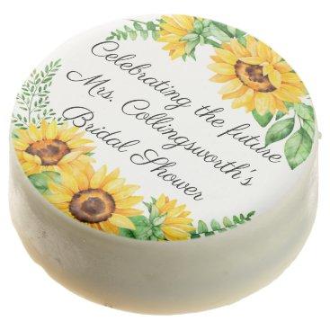 Wedding Themed Wedding Bridal Shower Watercolor Sunflower Wreath Chocolate Dipped Oreo
