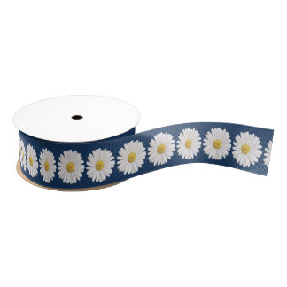 Wedding Bridal Shower White Yellow Shasta Daisy Grosgrain Ribbon