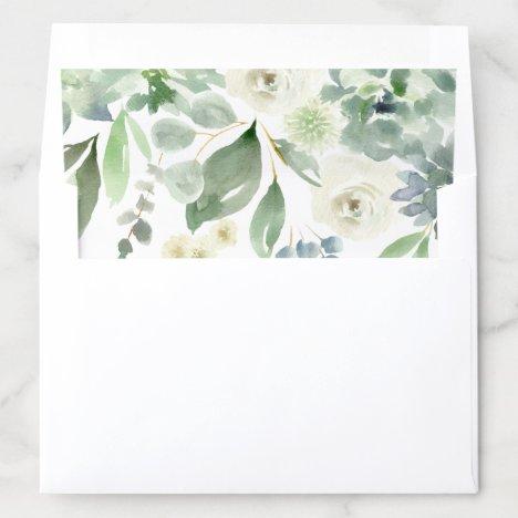 Wedding Bridal Succulent Watercolor Green Blue Envelope Liner