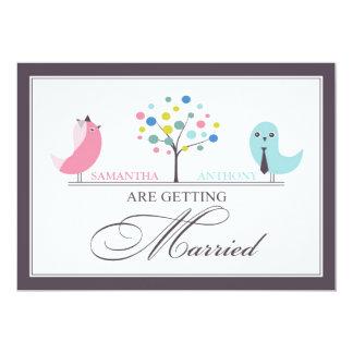 Wedding Bride and Groom Birds Flat Invitation