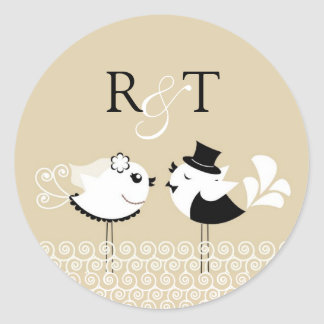 Wedding Bride and Groom Birds Stickers