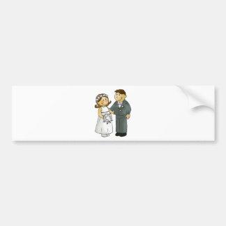wedding bride and groom bumper sticker