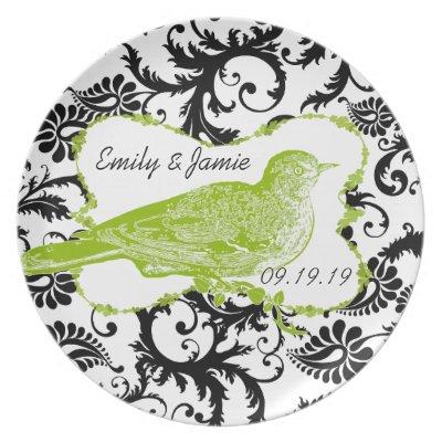 Wedding Bride and Groom Damask Vintage Bird Dinner Plates by samack