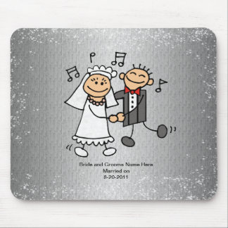 Wedding Bride and Groom Dancing - Smiling Mouse Pad