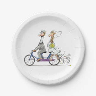 wedding bride and groom giraffes - personalized 7 inch paper plate