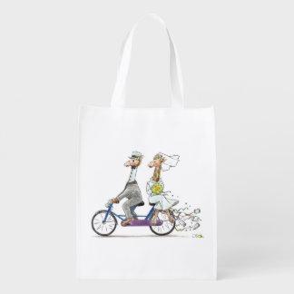 wedding bride and groom giraffes reusable grocery bag