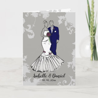 Wedding bride and groom illustration card