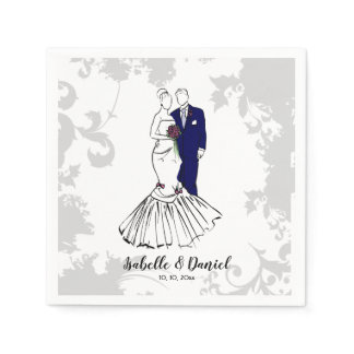 Wedding bride and groom illustration table napkin