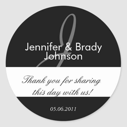 Wedding Bride and Groom Monogram J Favor Sticker