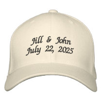 Wedding Bride and Groom Names Date Newlyweds Embroidered Baseball Hat
