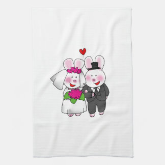 wedding bride and groom towel