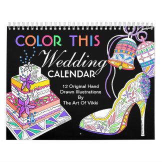 Wedding Bride Bridesmaid Color This Personalized Calendar