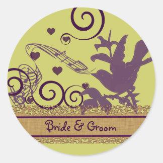 Wedding Bride & Groom Bird Swirl Purple & Lime Classic Round Sticker