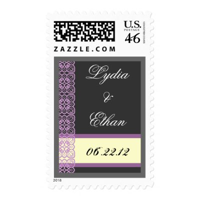WEDDING Bride Groom Date Gray Cream Purple Lace Postage Stamps by