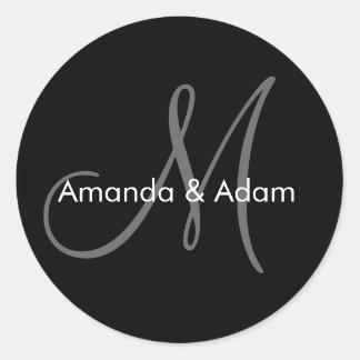 Wedding Bride Groom Names Monogram Black Grey Classic Round Sticker