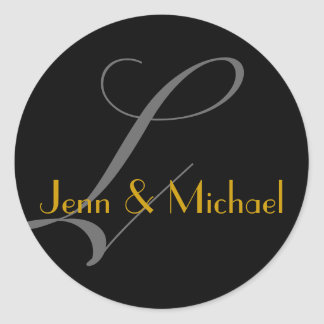 Wedding Bride Groom Names Monogram L Gold Seal