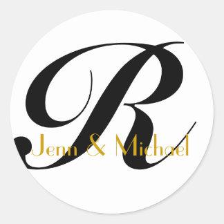 Wedding Bride Groom Names Monogram R Sticker Gold