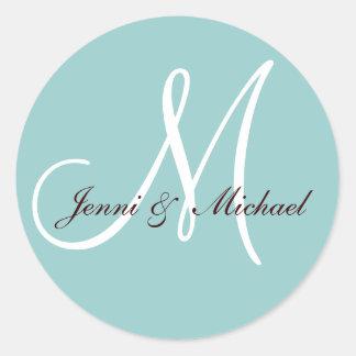 Wedding Bride Groom Names Monogram Sticker Blue