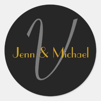 Wedding Bride Groom Names Monogram V Gold Seal