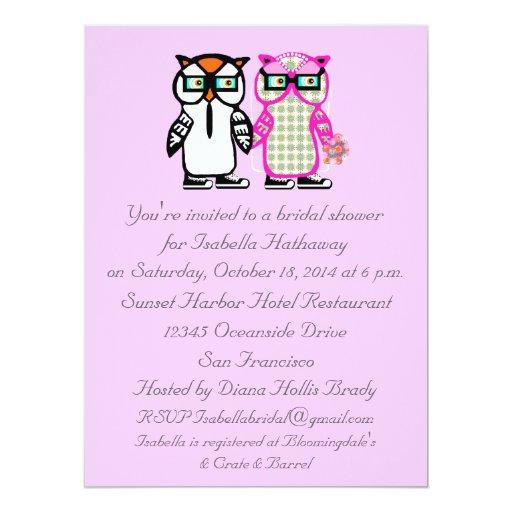 Wedding Shower Gift For Groom : Wedding Bride & Groom Owl Bridal Shower Invitation Zazzle