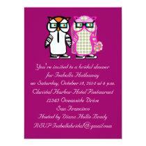 Wedding Bride & Groom Owl Bridal Shower Invitation
