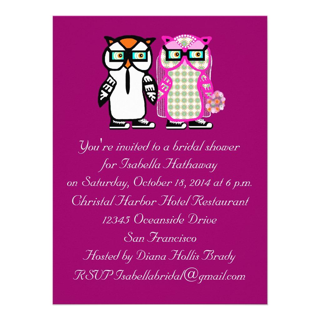 Wedding Bride & Groom Owl Bridal Shower Invitation