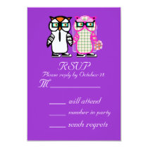 Wedding Bride Groom Owl RSVP Invitation Reply Card