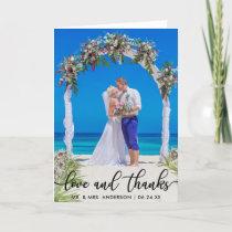 Wedding Bride Groom Photo Love and Thanks Fold Card