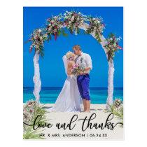 Wedding Bride Groom Photo Love and Thanks Postcard