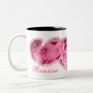 Wedding Bride & Groom - PINK Flower Hearts Two-Tone Coffee Mug