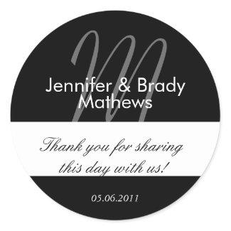 Wedding Bride & Groom Thank You Favor Sticker sticker