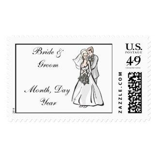 Wedding Bride & Groom Wedding Postage Stamp