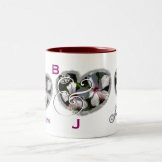 Wedding Bride & Groom - White & Pink Flower Hearts Two-Tone Coffee Mug