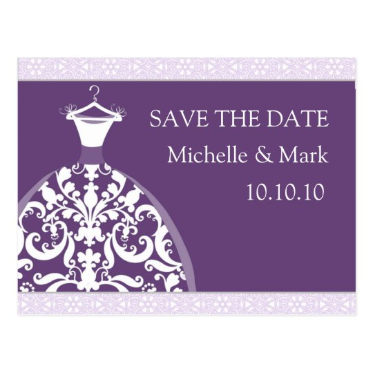 Wedding Bride Save the Date Purple Card