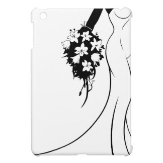 Wedding Bride Silhouette Holding Flowers iPad Mini Cases