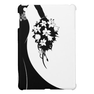 Wedding Bride Silhouette with Flowers iPad Mini Cover