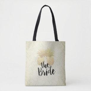 Wedding Bride Vintage Gold Pineapples Damask Paper Tote Bag