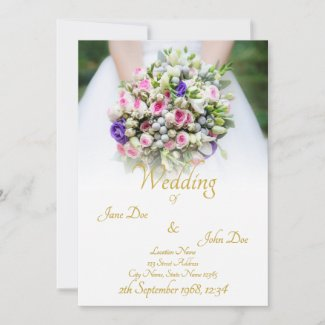 Wedding - bride with colorful wedding bouquet announcement