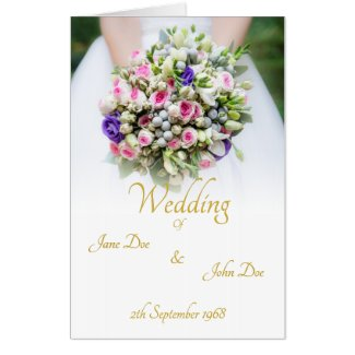 Wedding - bride with colorful wedding bouquet card