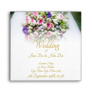 Wedding - bride with colorful wedding bouquet envelope