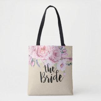 Wedding Brides Chic Watercolor Boho Floral Feather Tote Bag