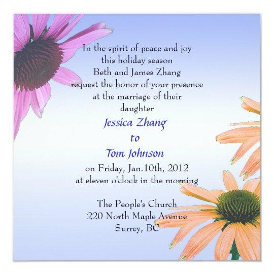 wedding, bride's parents invitation. daisy flowers card